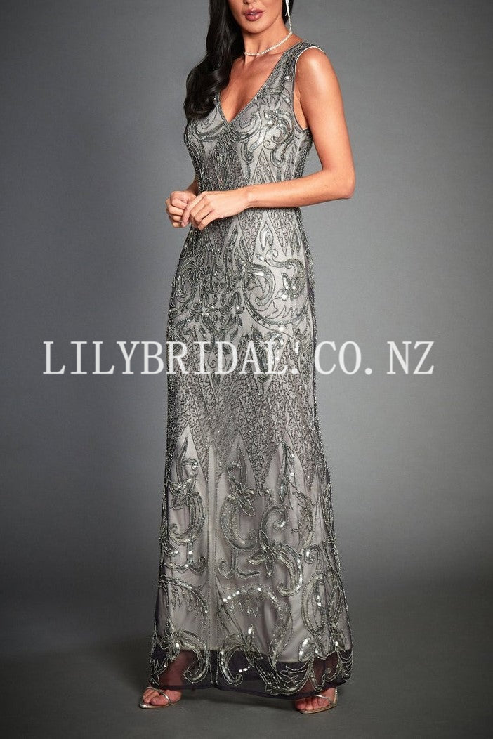 Luxury Beading Sequin V-Neck Sleeveless Zipper-Up Floor-Length Sheath Mother Of The Bride Dress