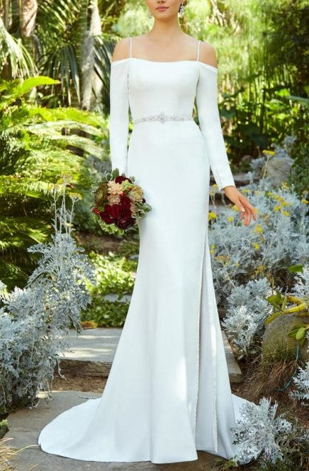 Beading Spaghetti Straps Cold Shoulder Long Sleeves Long Slit Mermaid Bridal Wedding Dress