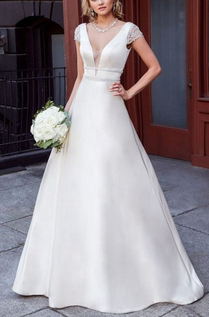 Beading Plunging Neck Cap Sleeves Backless Long Satin Princess Bridal Wedding Dress
