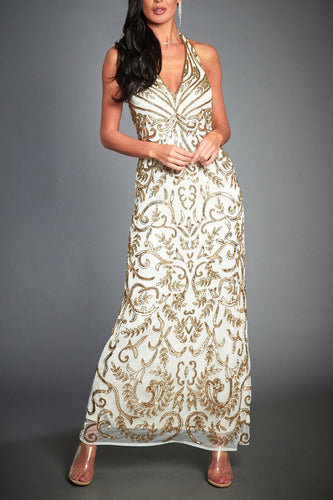 Luxury Beading Sequin Halter Neck Sleeveless Floor-Length Sheath Mother Of The Bride Dress