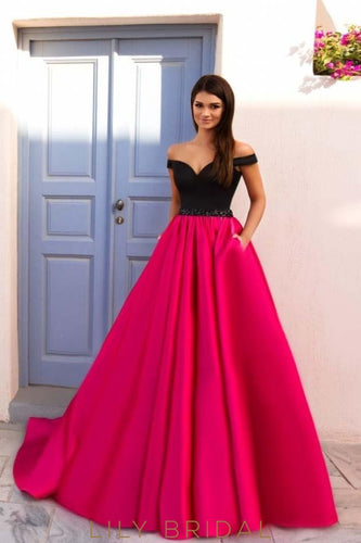 Black Pink Satin Sweetheart Off-the-Shoulder A-Line Prom Dress