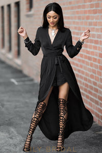 Black V-Neck Full Sleeves Full Length Prom Dress with Wrap Jacket