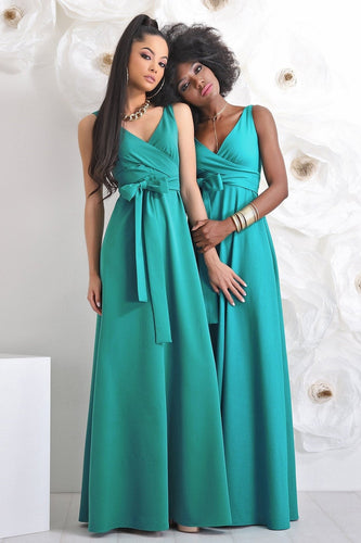 Chic Bow-Knot V-Neck Sleeveless Zipper-Up Floor-Length Sheath Bridesmaid Dress