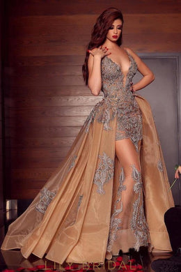 Brown Grey Lace Tulle Lace Plunging Neck Floor Length Prom Dress