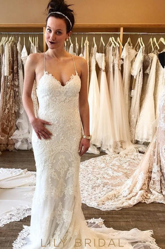 White Tulle Strapped Wedding Gown