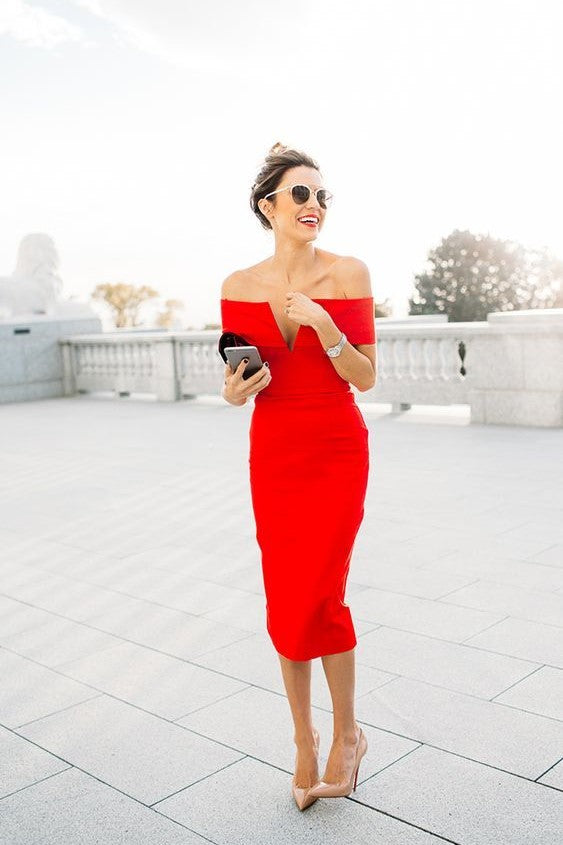 Charming Off Shoulder Short Sleeves Tea-Length Solid Stretch Bodycon Red Cocktail Dress