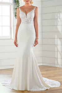 Luxury Lace Plunging Neck Sleeveless Backless Long Mermaid Bridal Wedding Dress