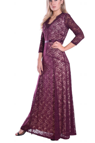 Lace Illusion Scalloped Edge Neck Long Sleeves Floor-Length Mother Of The Bride Dress