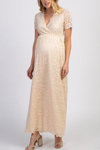 Lace Scalloped Edge Neck Short Sleeves Ankle-Length Maxi Maternity Bridesmaid Dress