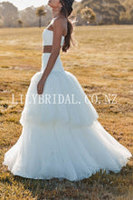 Elegant Layers Strapless Sleeveless Two Piece Long Bridal Wedding Dresses