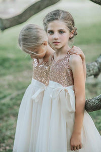 Elegant Sequin Spaghetti Straps Sleeveless Knee-Length Chiffon Princess Flower Girl Dress