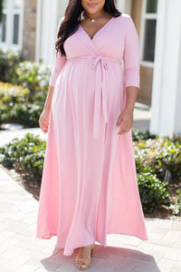 Elegant V-Neck Long Sleeves Ankle-Length Maxi Maternity Bridesmaid Dress