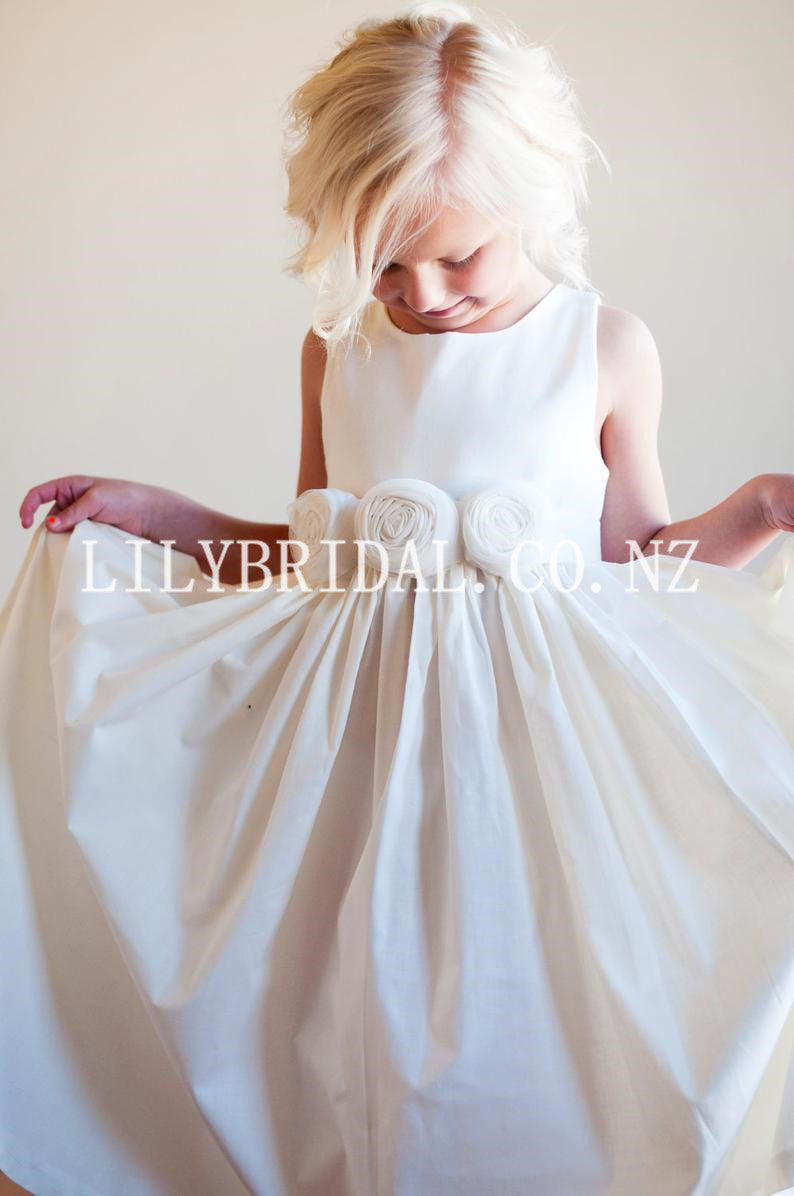 Cute Hand-made Flower Scoop Neck Sleeveless Ankle-Length Satin Princess Flower Girl Dress