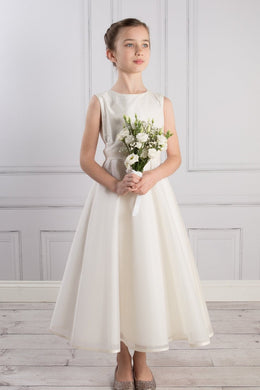 Elegant Scoop Neck Sleeveless Zipper-Up Tea-Length Satin Flower Girl Dress