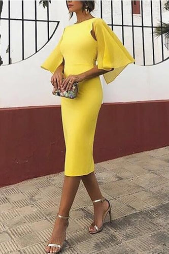 Elegant Bateau Neck Half Sleeves Zipper-Up Knee-Length Bodycon Cocktail Dress