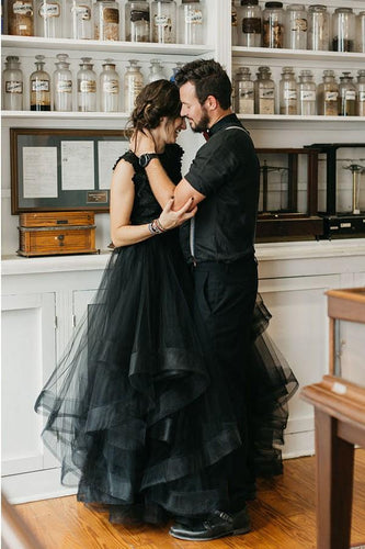 Lace Illusion Bateau Neck Cap Sleeves Black Bridal Gown Open Back Long Wedding Dress