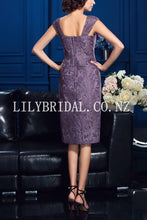 Elegant Lace Long Sleeves Two Piece Knee-Length Sheath Mother Of The Bride Dresses