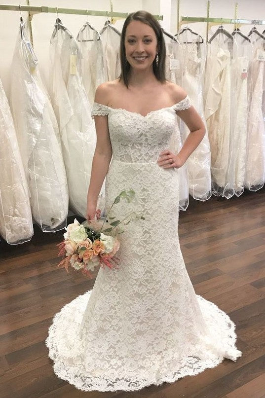 Elegant Lace Off Shoulder Zipper-Up Long Mermaid Bridal Wedding Dress