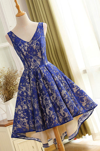 Elegant Lace V-Neck Sleeveless Backless High-Low Cocktail Dress