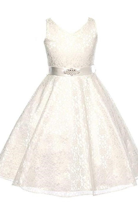 Elegant Lace V-Neck Sleeveless Zipper-Up Tea-Length Flower Girl Dress with Belt