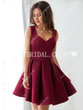 Elegant Queen Anne Neck Sleeveless Short Solid A-Line Satin Cocktail Dress