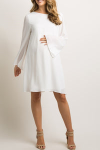 Elegant Scoop Neck Long Sleeves Short White Maxi Maternity Bridesmaid Dress