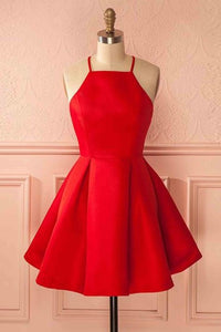 Elegant Spaghetti Straps Sleeveless Short Solid Red Satin Cocktail Dresses