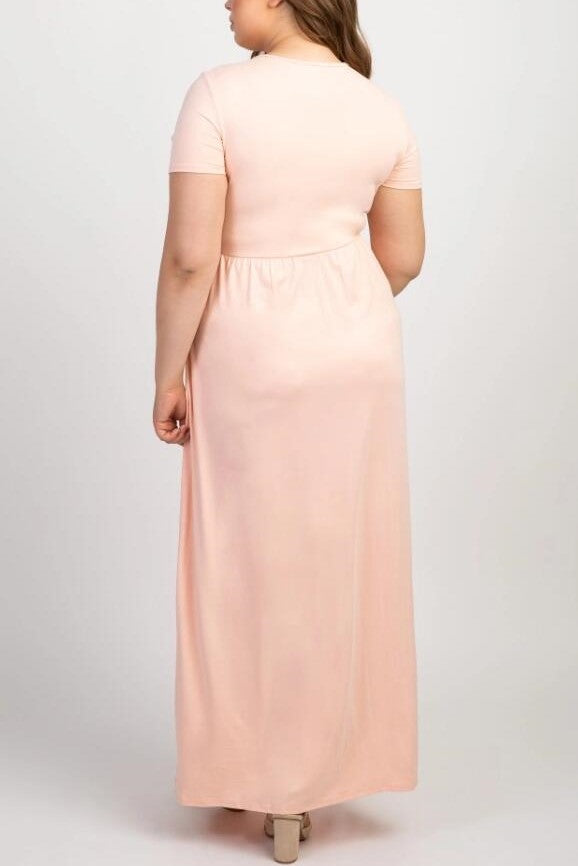 Elegant V-Neck Short Sleeves Ankle-Length Sheath Maxi Maternity Bridesmaid Dress