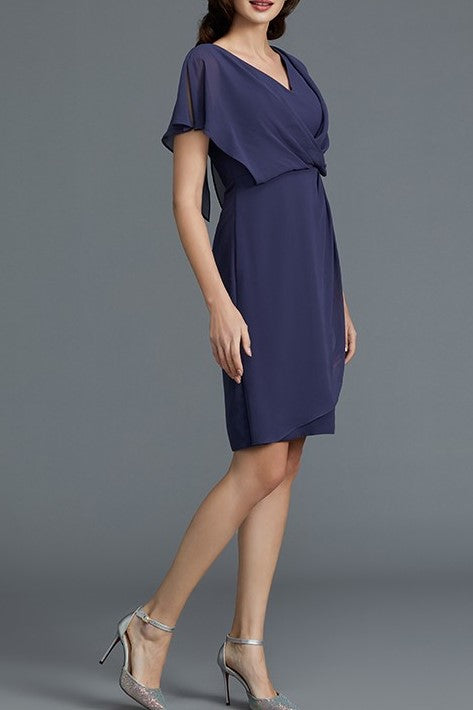 Elegant V-Neck Short Sleeves Zipper-Up Short Sheath Chiffon Mother Of The Bride Dress