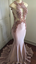 Candy Pink Sleeveless Jewel Beaded Mermaid Prom Dress With Keyholes
