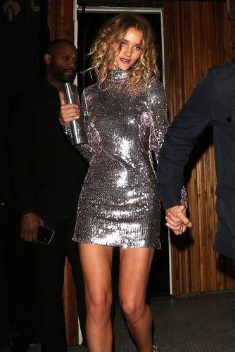 Glittering Sequin High Neck Long Sleeves Short Bodycon Sexy Cocktail Party Dress