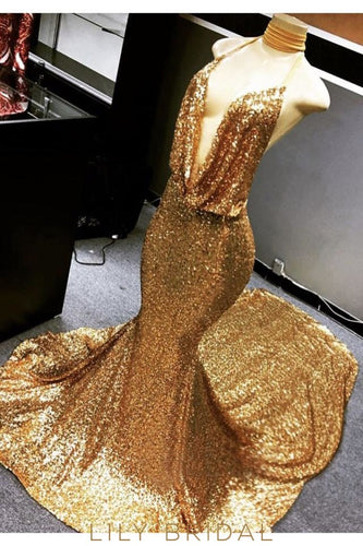 Gold Sequin Deep V-Neck Halter Court Train Mermaid Prom Dress
