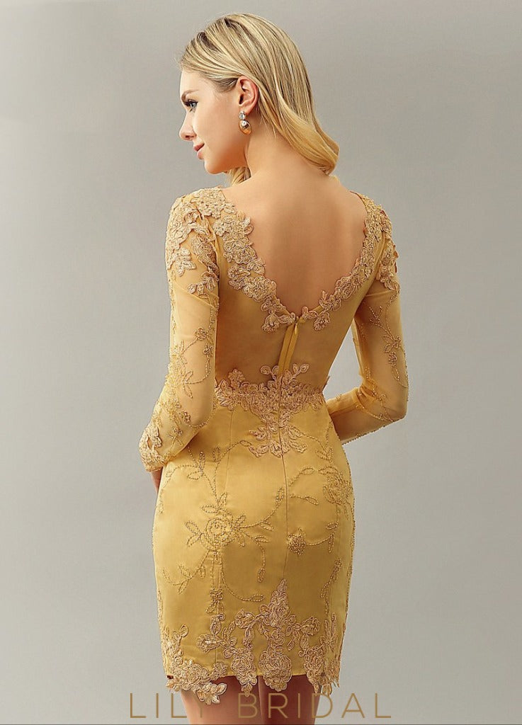 Gold Sheath Bateau Long Sleeve Illusion Satin Short Prom Dress With Applique