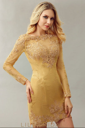 Golden Yellow Satin with Sheer Overlay Long Sleeves Prom Dress