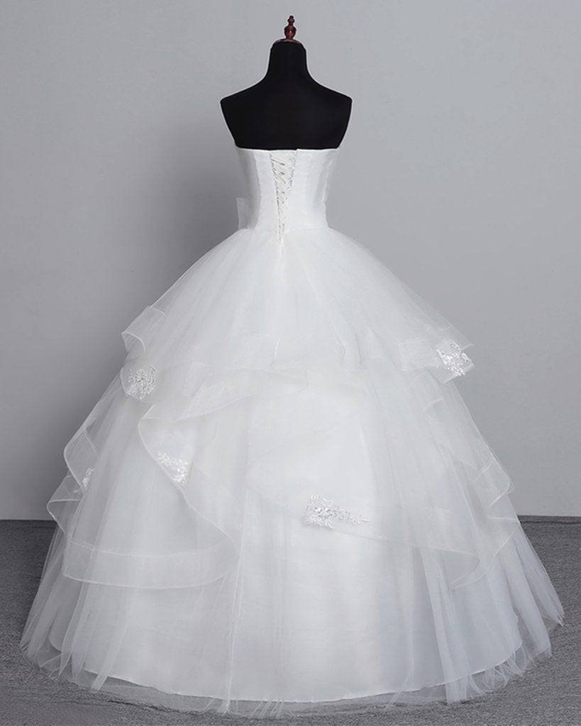 Gorgeous Applique Sweetheart Sleeveless Lace-Up Floor-Length Ball Wedding Gown