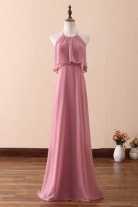 Sexy Halter Neck Sleeveless Backless Zipper-Up Floor-Length Sheath Chiffon Bridesmaid Dress