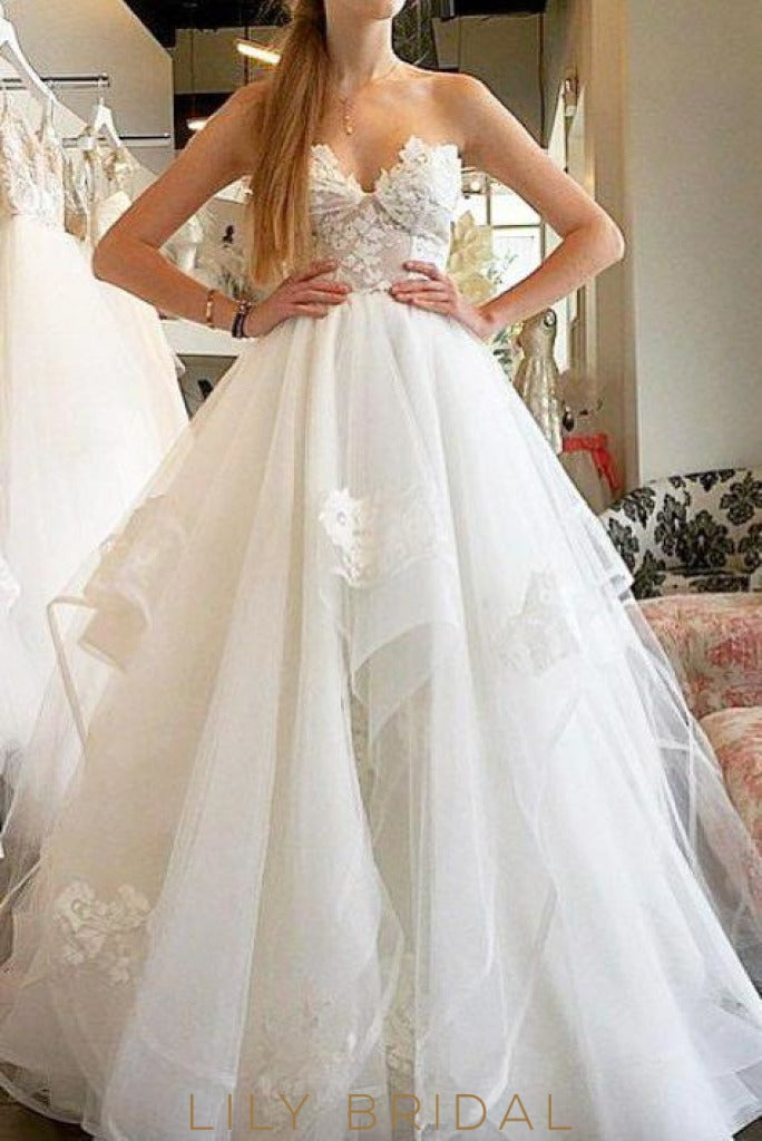 Ivory Tulle Sweetheart A-Line Sleeveless Prom Dress with Applique