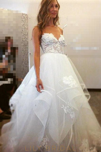 Ivory Tulle Sweetheart Ball Gown Sleeveless Prom Dress with Sweep Length