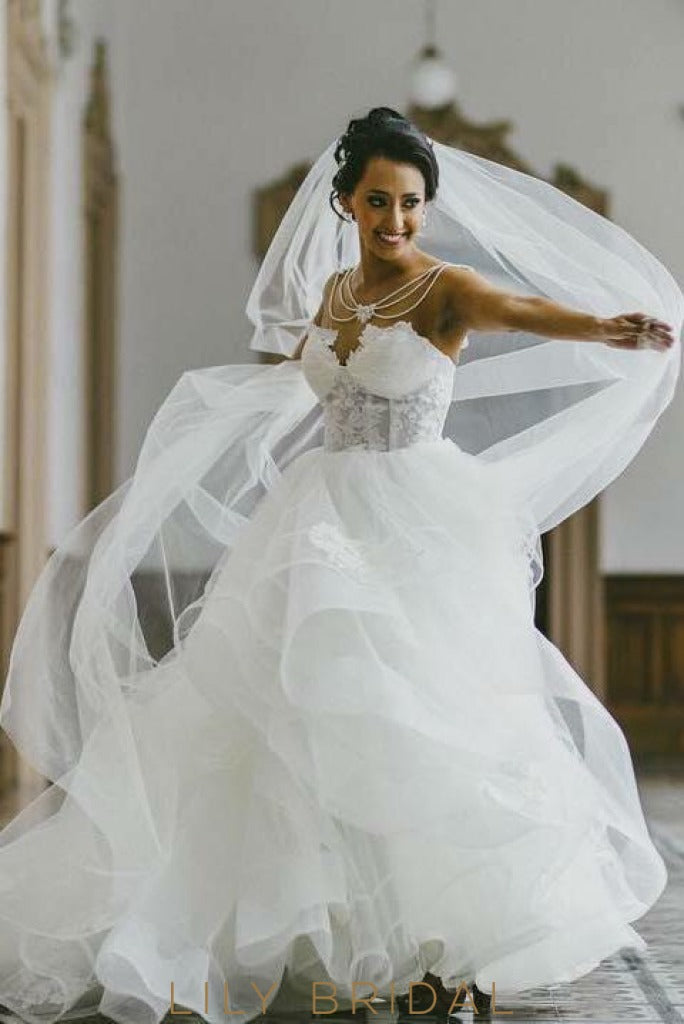 Ivory Tulle Sweetheart A-Line Sleeveless Wedding Dress with Applique