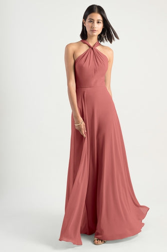 Elegant Jewel Neck Sleeveless Open Back Long Solid Chiffon Bridesmaid Dress