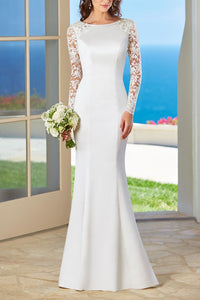 Vintage Lace Illusion Bateau Neck Long Sleeves Backless Long Mermaid Bridal Wedding Dress