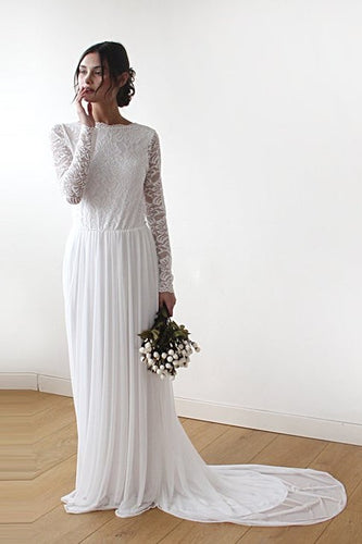 Elegant Lace Bateau Neck Long Sleeves Backless Long Sheath Chiffon Bridal Wedding Dress