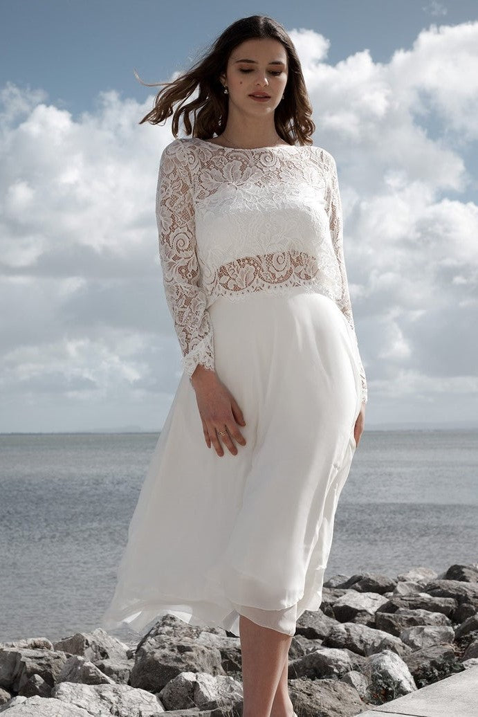 Lace Illusion Bateau Neck Long Sleeves Open Back Two Piece Tea-Length Chiffon Bridal Wedding Dresses
