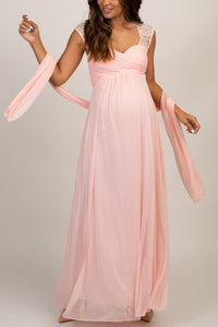 Lace Illusion Queen Anne Neck Cap Sleeves Open Back Ankle-Length Maternity Bridesmaid Dress