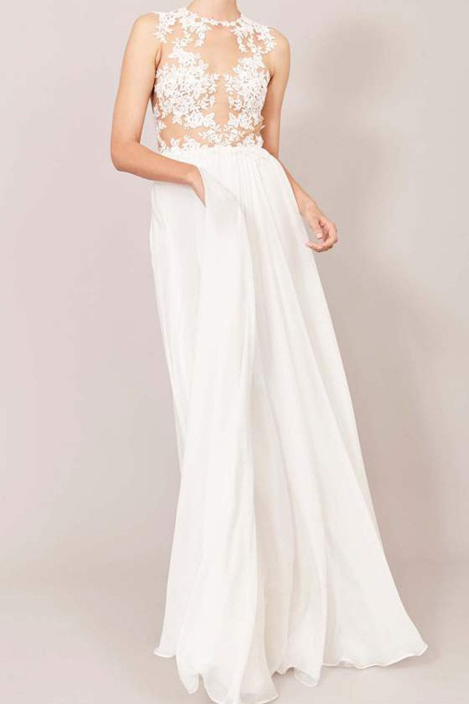 Elegant Lace Illusion Scoop Neck Sleeveless Floor-Length Sheath Chiffon Wedding Dress
