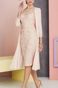 Lace Illusion Sheer Neck Long Sleeves Knee-Length Sheath Mother Of The Bride Dress