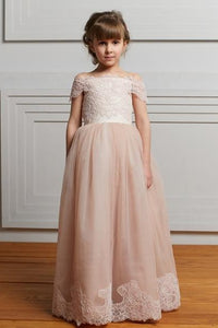 Luxury Lace Off Shoulder Lace-Up Floor-Length Tulle Princess Flower Girl Dress