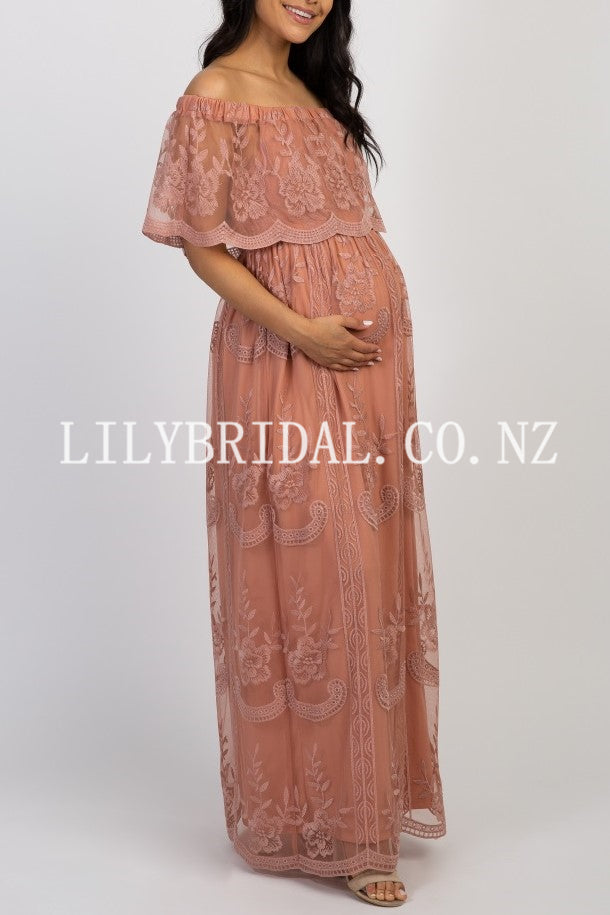 Lace Off Shoulder Short Sleeves Ankle-Length Sheath Maxi Maternity Bridesmaid Dress