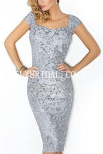 Lace Queen Anne Neck Long Sleeves Knee-Length Sheath Chiffon Mother Of The Bride Dress