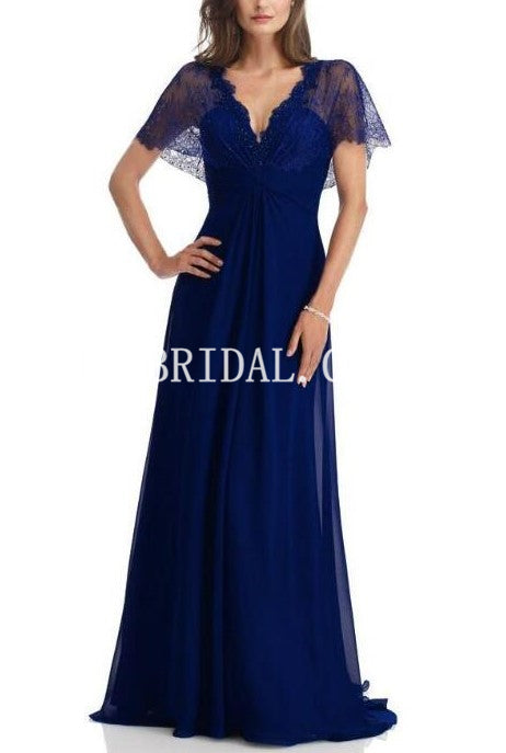 Lace Illusion Scalloped Edge Neck Short Sleeves Zipper-Up Long Chiffon Mother Of The Bride Dress